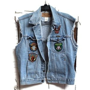 Vintage Wrangler denim vest 90s Sturgis patches L